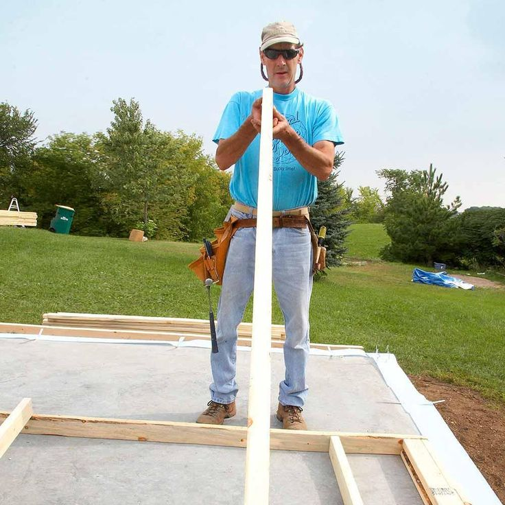 Choose Straight Studs - DIY Storage Shed Building Tips: http://www.familyhandyman.com/sheds/diy-storage-shed-building-tips#8