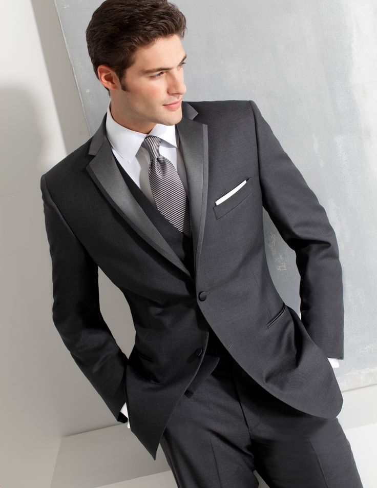 ike behar dark gray slim fit tuxedo style 690 black tie