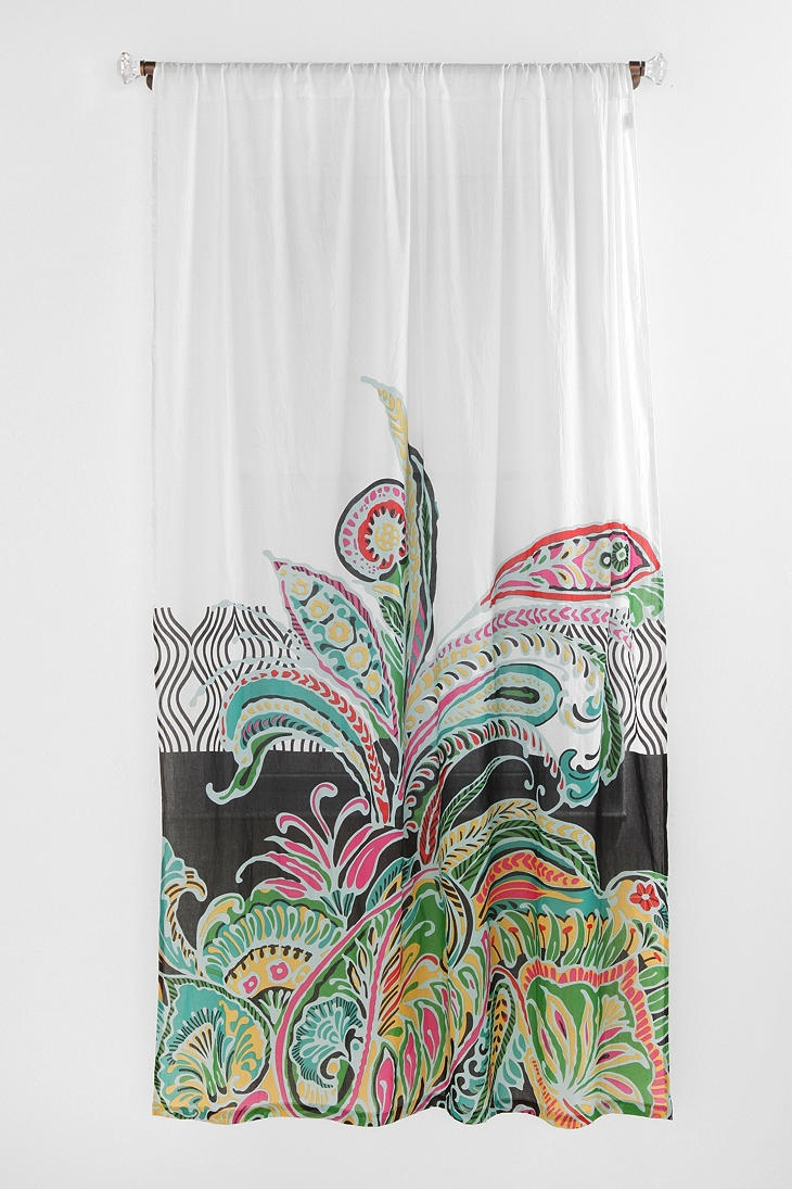 LOVE THIS -- is it too girly?  paisley curtain for bathroom