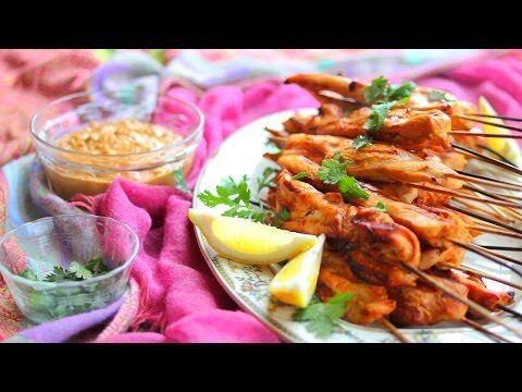 Hähnchen Satay vom Grill - Thai Klassiker mit Erdnusssoße, Fingerfood, Vorspeise, thailändisch Das Rezept gibts auf Allrecipes Deutschland http://de.allrecipes.com/rezept/17201/h-hnchen-satay-vom-grill.aspx