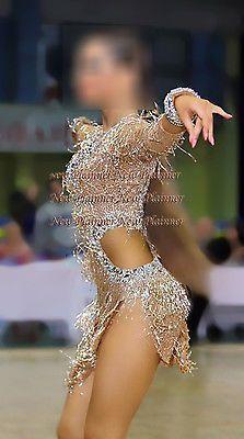 L3947 gold bead fringes Ballroom latin swing rumba samba dance dress us 4