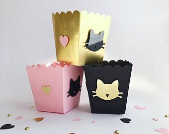 Cat Party Favor Boxes Meow Kitten Girl Birthday Bachelorette Party Decorations Girl Baby Shower Pink Black Gold Custom Candy Popcorn Boxes