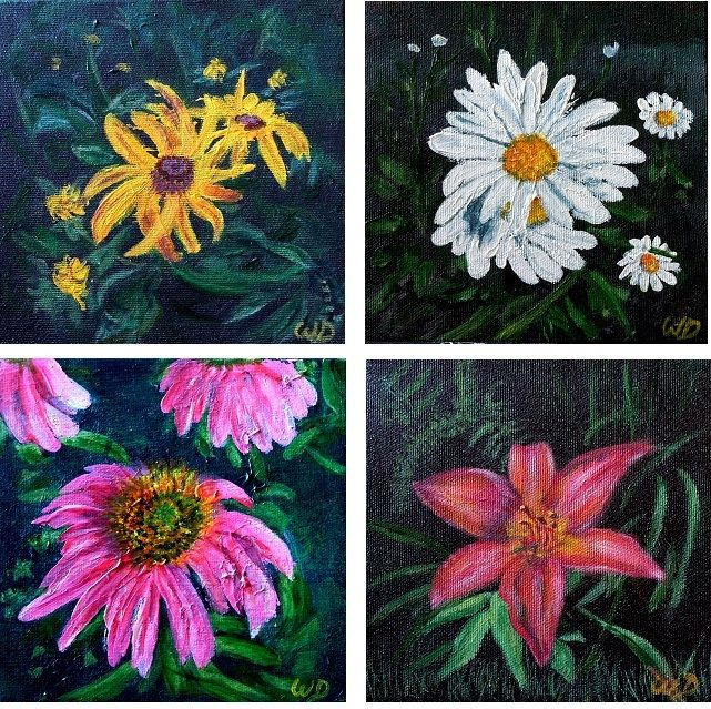 These 4 Floral paintings are part of a collection of smaller works for a couple of summer arts shows. July 4, Muskoka Furniture, 195 Wellington Street, Bracebridge and August 8 & 9, Baysville Arts & Crafts Festival, Baysville Riverfront Partk, Baysville. For more info, please visit my website at www.wendiedonabie.com