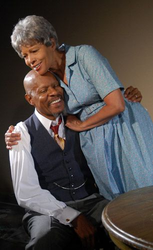 Avery Brooks as Willy Loman and Petronia Paley as Linda Loman. Oberlin College
