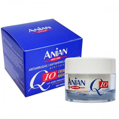 Crema antirid de noapte pentru piele sensibila cu coenzima Q10, Acid Hialuronic si Vitamina E, fara parabeni.