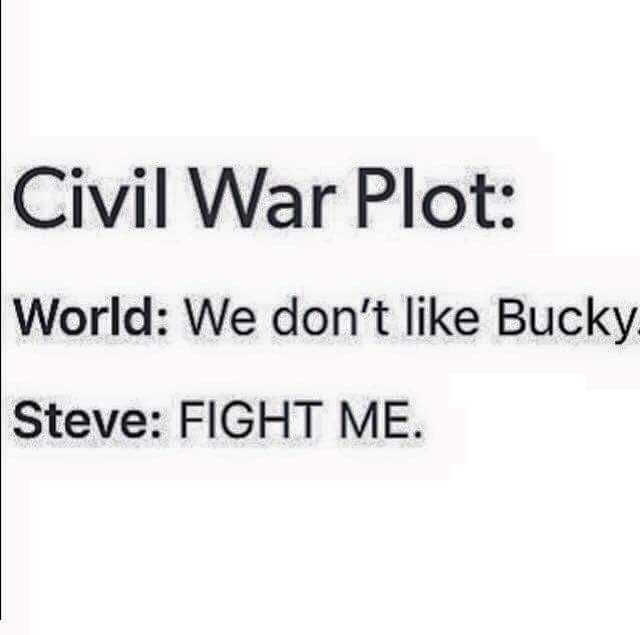 Civil War plot-- World: We don't like Bucky    Steve: Fight me --- the best summary I've ever seen.