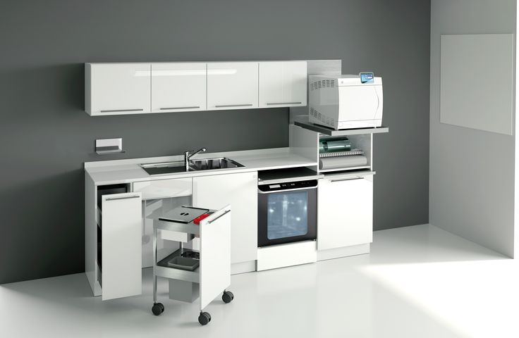 All the S_teryl 'decontamination' cabinetry is made of materials resistant to bacterial growth: steel, stainless steel, synthetic hard-surface materials.