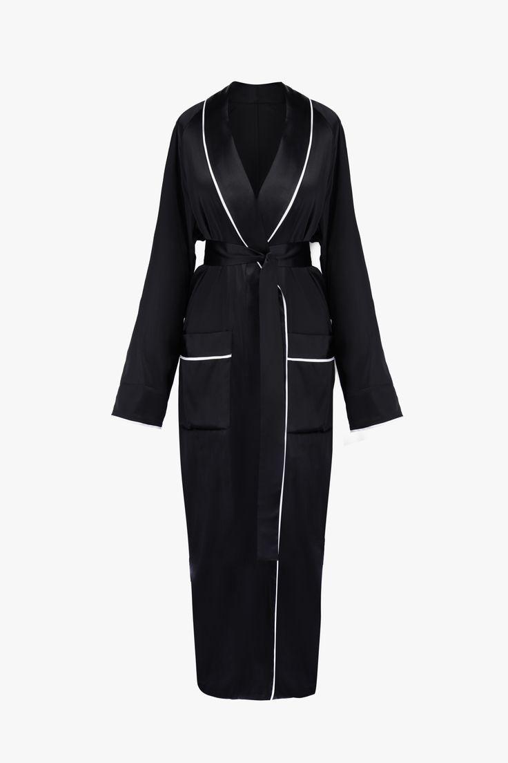'Sleeper Hotel' Black Silk Robe – Sleeper