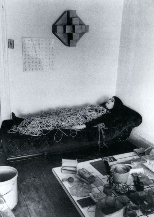 Eva Hesse with a Rope Sculpture Hermann Landshoff c.1969