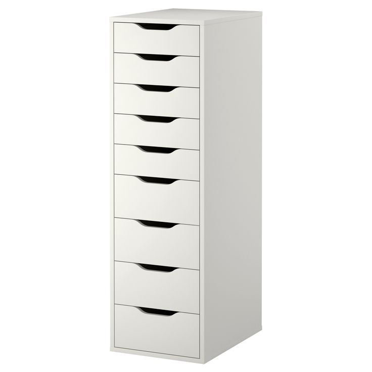 "ALEX Drawer unit with 9 drawers   Width: 14 1/8 ""  Depth: 18 7/8 ""  Height: 45 1/4   $149.99"