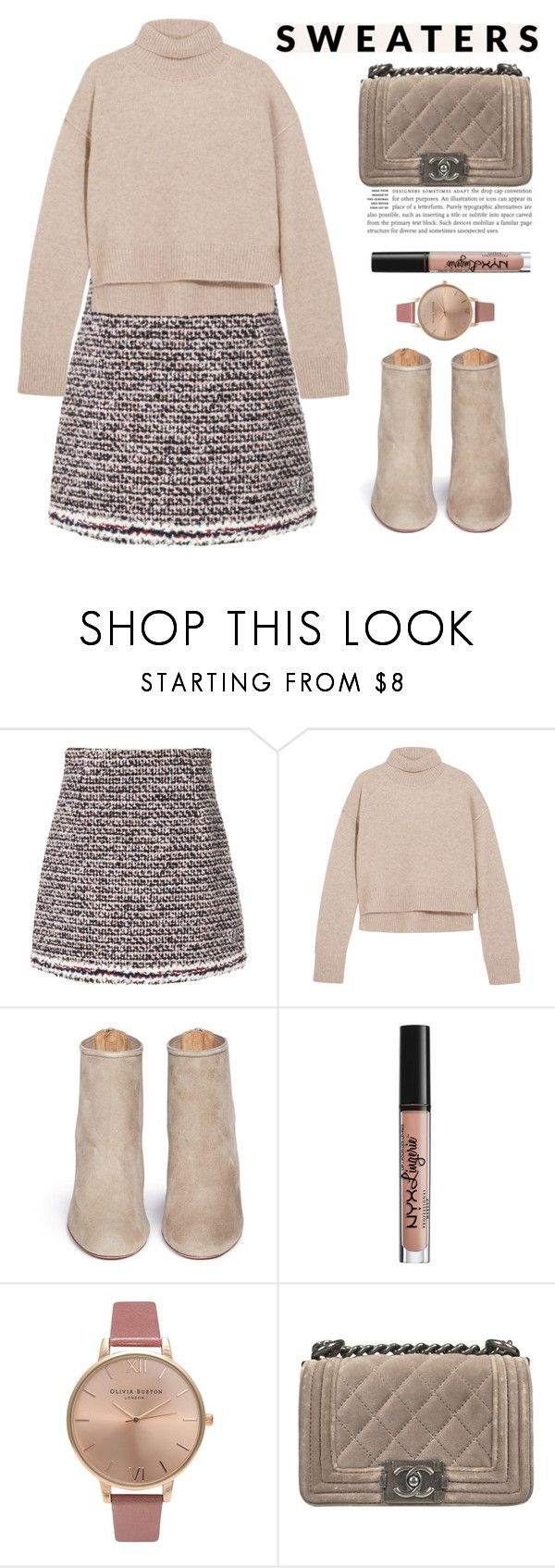 """Untitled #739"" by jovana-p-com ❤ liked on Polyvore featuring Moncler Gamme Rouge, Rejina Pyo, Aquazzura, NYX, Olivia Burton and Chanel"
