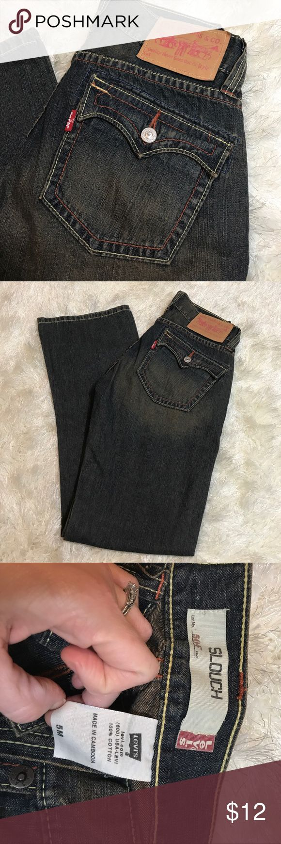 """Levi's dingy slouch jeans sz 5 These jeans have the """"dingy"""" look- with stitching in blues and yellows and rust colors. Super cute detailing- these also have the curved stitching at the bottom. Waist flat 15 inches. Front rise 7.5 inches. Inseam 32 inches. No rips or stains. Bundling is fun; check out my other items! No price talk in comments. No trades or holds. NO SPAM. Levi's Jeans Boot Cut"""