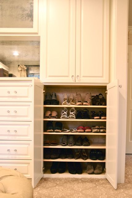 Creative Shoe Cabinet for Elegant Interior Design: Efficient Shoe Cabinet Idea Covered By Wooden Swinging Doors Combined With Drawers And Op...
