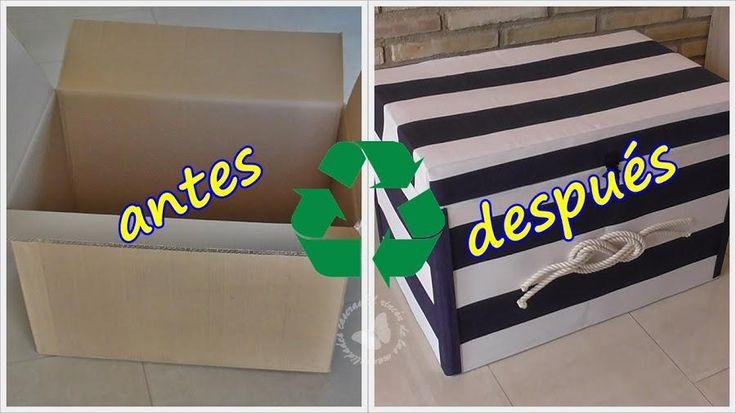 Aprovecha y decora una simple caja de cartón y crea un bonito baúl de estilo marinero.