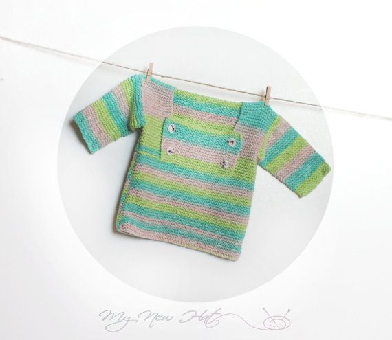 Baby Swater Lucid Turquoise Pink Green Handknit by MyNewHat