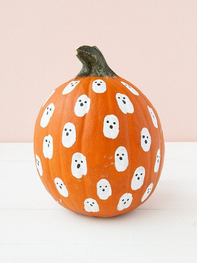 Painted Fingerprint Pumpkins For Kids With Images Holidays Halloween Pumpkin Halloween