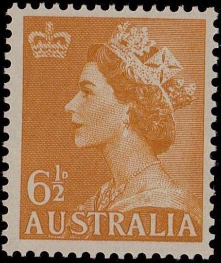ACSC 299B) 1956. Queen Elizabeth II. 6½d. Perforation 15 x 14. No watermark. Yellow (unlisted)