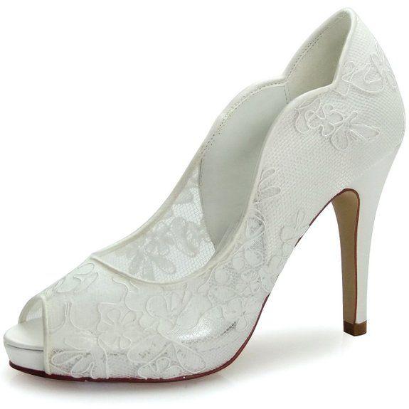 ElegantPark HP1504I Scarpe da sposa con tacco pizzo plateau peep toe (Avorio), 39