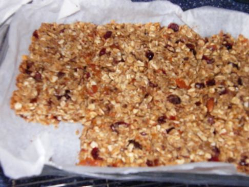 Lots of dried fruit; very good; a little crumbly-Contessa uses more coconut... could omit or change any of the fruits...  I thought it was pretty filling for smaller size... but could get fattening if you like lots and lots of quantity.