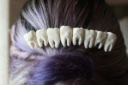 littlealienproducts: teeth hair clip If only I had hair long enough