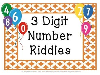 Extend your students' understanding of place value using these number riddles.  This resource includes 15 three digit number riddles, a hundreds chart, a place value chart, number cards, and an answer key.These riddles could easily be used in small groups, as a center, or as a whole group activity.