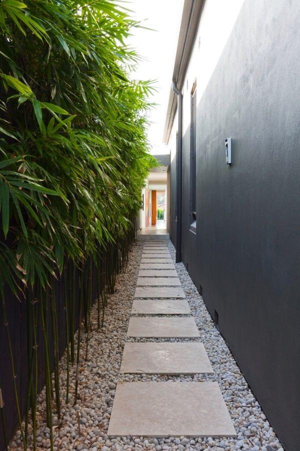 sentier de jardin en pierre et bambou