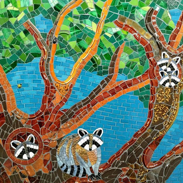 """""""Treehouse""""- 2nd of 3 mosaic triptych panels for Lucille Packard Children's Hospital at Stanford. 3ft.x3ft. #Stanford125 #mosaic #treemosaic #racoons #mosaicart #treehouse"""