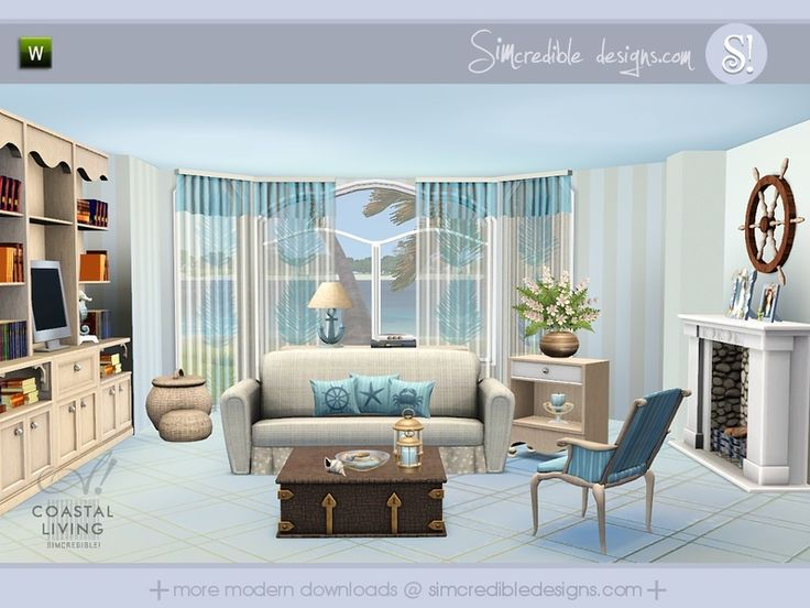 Coastal Living Room By SIMcredible! For Sims 3 Part 53