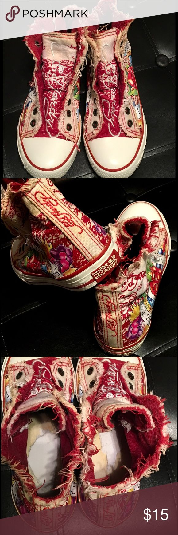 Ed Hardy stressed converse style shoes Ed Hardy stressed look converse style shoesshoelace free, these are the perfect slip on shoes!  Unique style absolutely love!  Original insoles were removed.  Price reflects used condition. Ed Hardy Shoes Sneakers