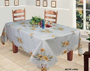 """Sunflower Tablecloth Fall Autumn Harvest Thanksgiving Embroidered Cutwork Table Cloth 70x104"""" Rectangular with 12 Napkins White"""