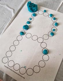 """Fine motor and alphabet practice in one. Trace B with playdough """"blueberries""""."""