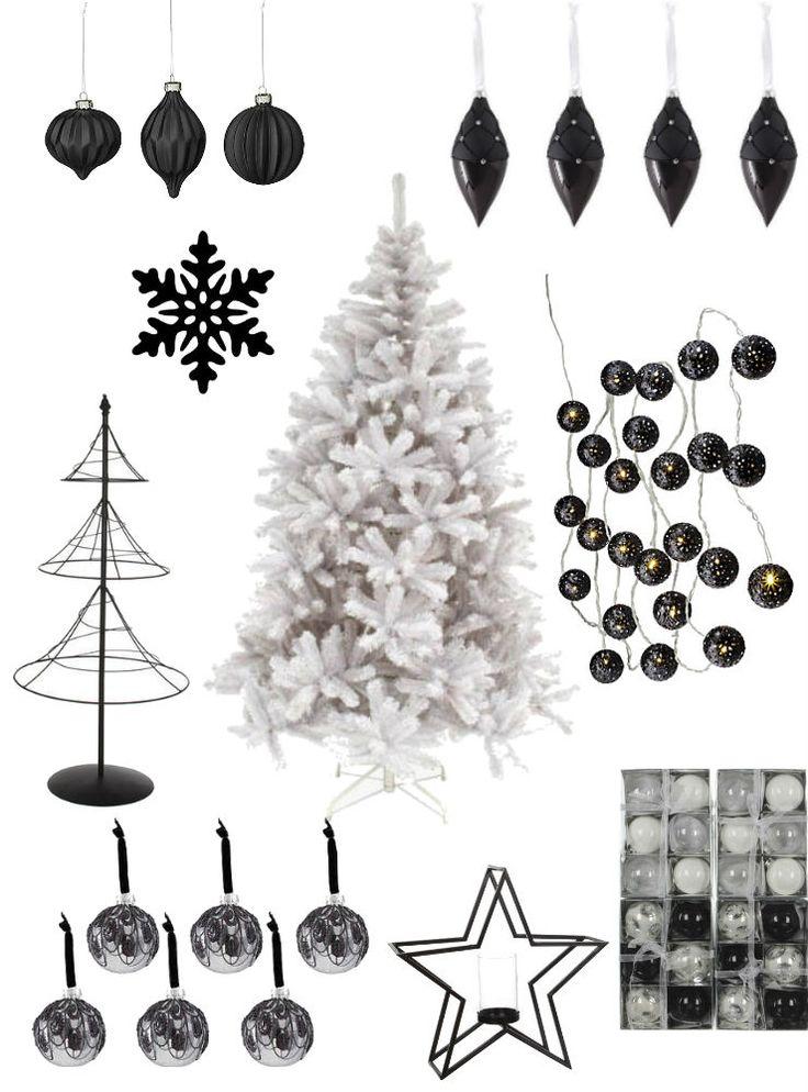 zwarte kerstballen en kerstdecoratie