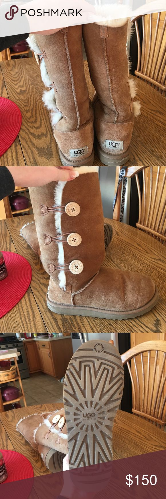 Tall UGG boots with button I got these about a year ago, I wore them about 10-15 times. Really good condition, waterproofed when I first got them. Price is negotiable! UGG Shoes Winter & Rain Boots