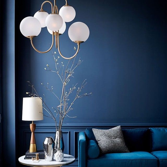 Blueness + Newness!  Our new gooseneck chandelier is part of our collaboration with @pelledesigns —looking stunning against the Loyal Blue @sherwinwilliams SW-6510 wall! #blue #westelm #newmodern