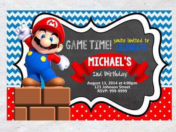 super Mario Brothers Birthday Invitation Chalkboard by VPrintables