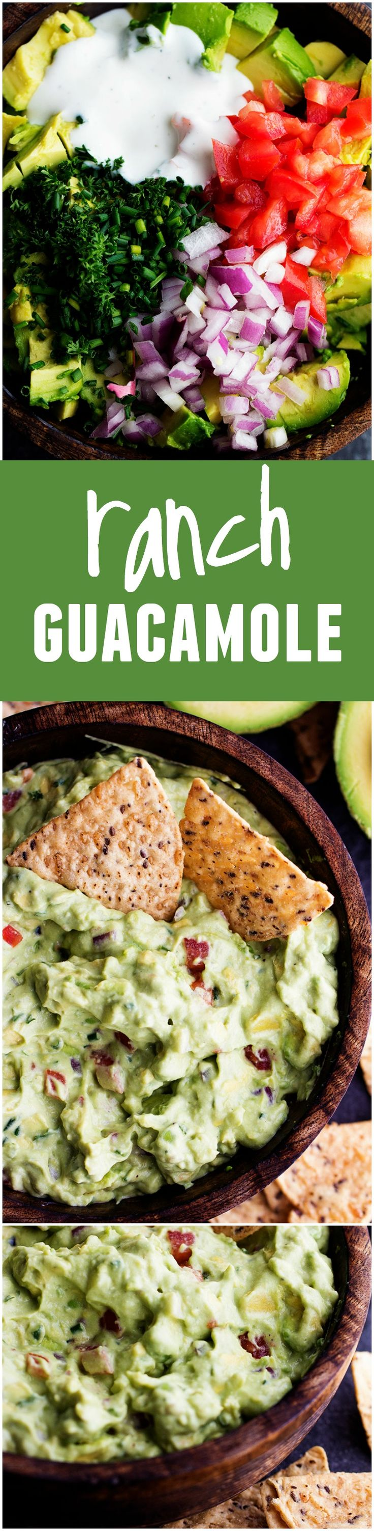 This Ranch Guacamole will be the BEST that you make!! The added ranch flavor to the fresh guac ingredients make one AMAZING dip!