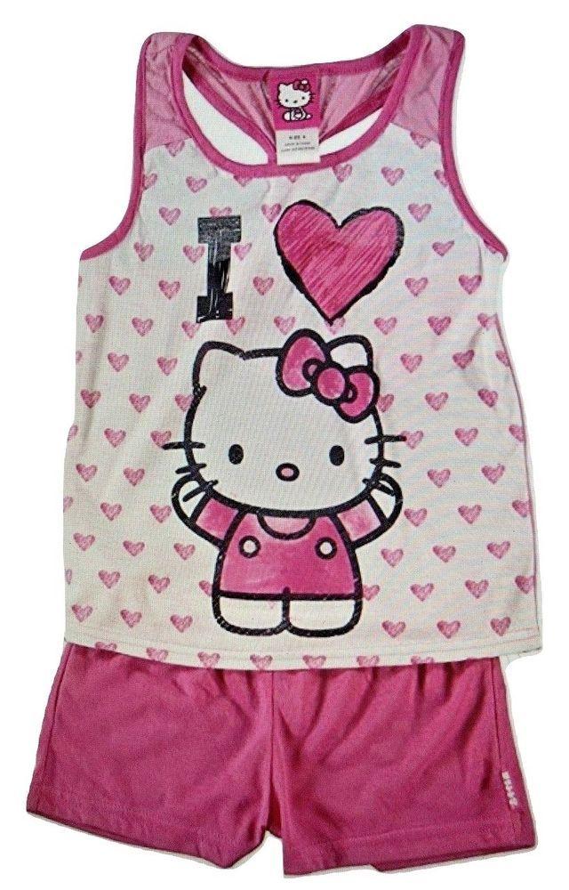 d08ab8b44 Hello Kitty Sanrio Hearts Girls 2 Piece Short Sleeve Pajama Set #Sanrio  #PajamaSet