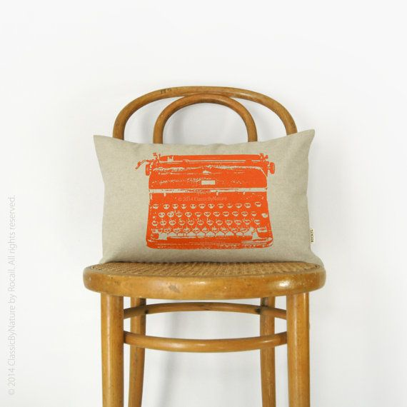 Retro Mid Century Typewriter | CUSTOM pillow case | Pick your Ink Color - Fabric - Size, 12x18 or 16x16 | Modern and Industrial Home Decor on Etsy, $50.00