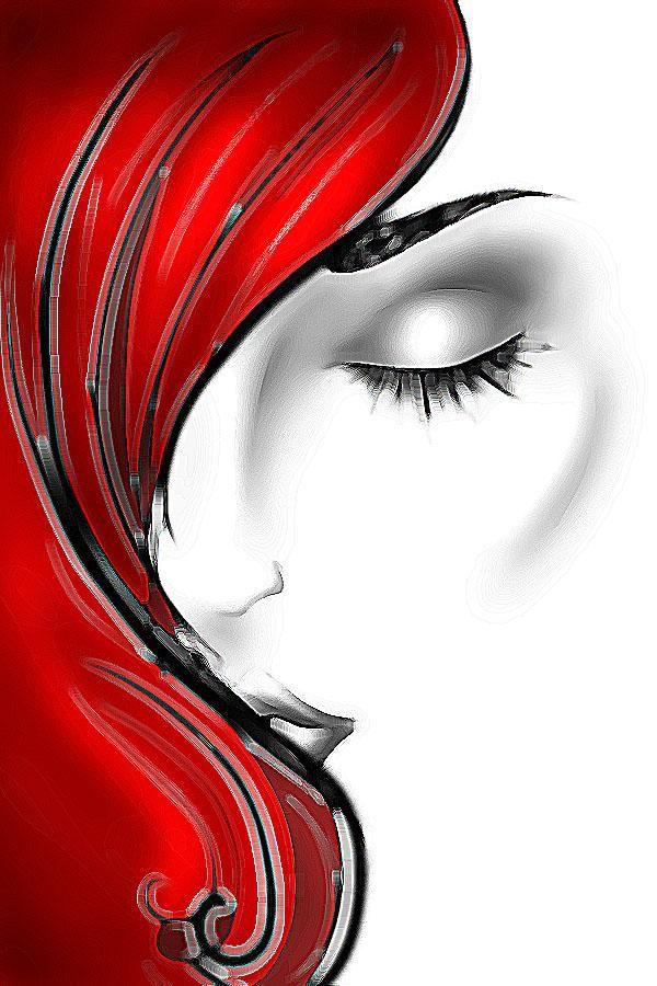 tolles Frauengesicht mit roten Haaren