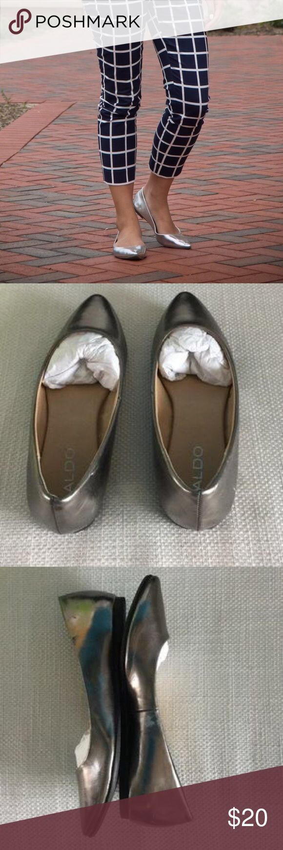 Aldo Metallic Flats Flats in metallic grey. They are brand new, tried on but never worned out... but the material has slight imperfections. See last 2 pictures. Will come in a shoe box. Size: 36 Aldo Shoes Flats & Loafers