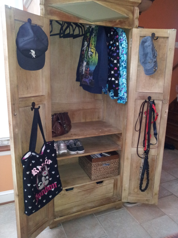 Armoire From Craigslist Repurposed As A Mini Mudroom. Added Hanging Rod,  Hooks And