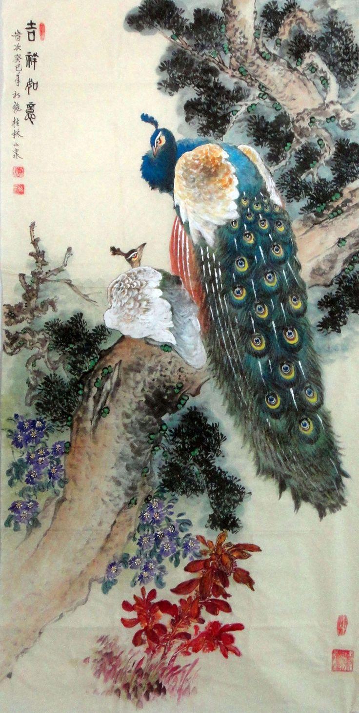 Peacock Fine Brush Chinese Ink Brush Painting 68cm 136cm