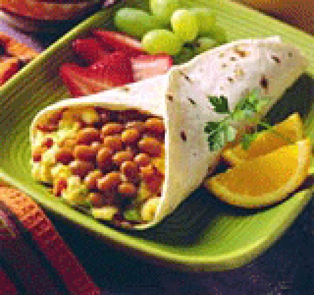 Vegetarian Healthy Breakfast Burrito with Egg and Beans: Healthy vegetarian breakfast burrito