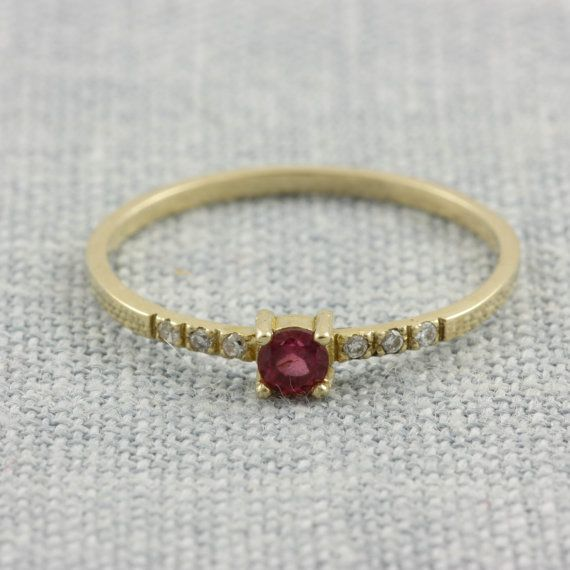 14K gold ring with rubellite tourmaline and by KyklosJewelryLab
