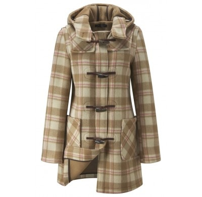 Womens Checked Short Duffle Coat - Camel NEW