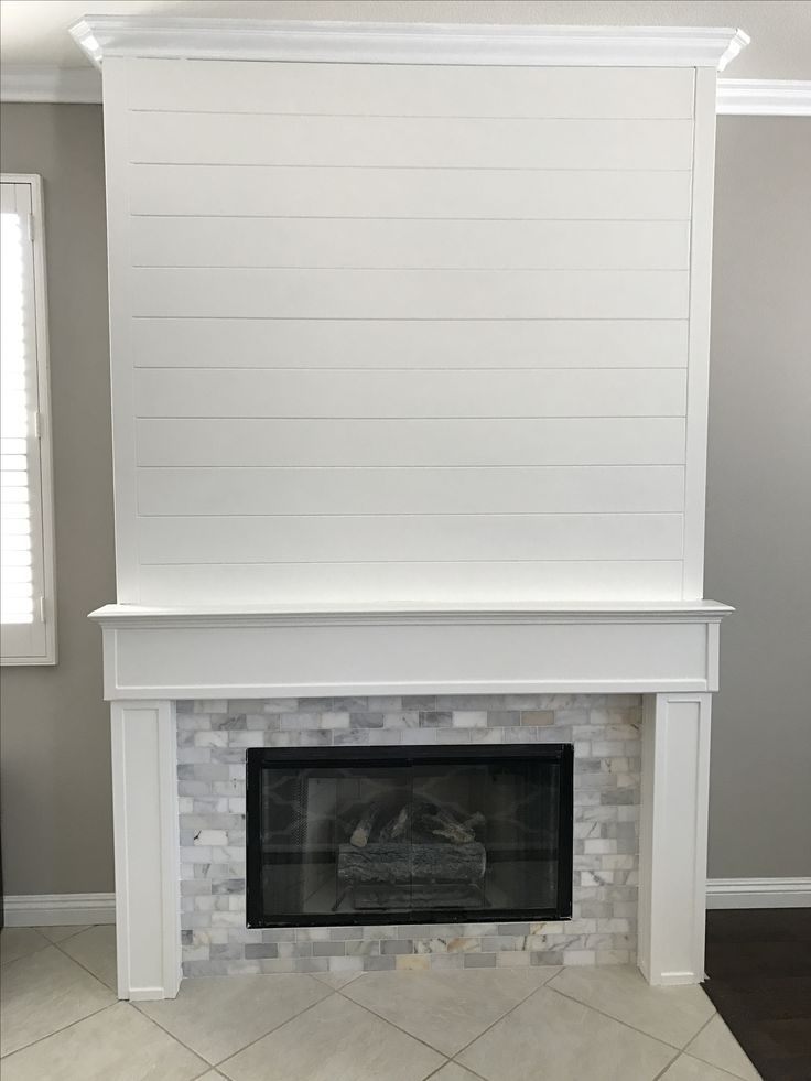Shiplap And Marble Tile Fireplace Fireplace Surrounds