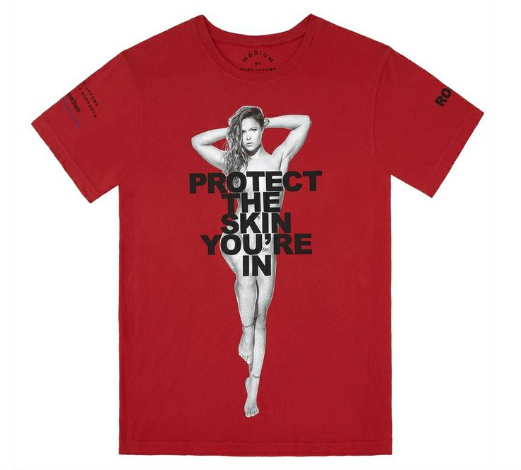 """Ronda Rousey for Marc Jacobs """"Protect The Skin You're In"""" charity t-shirt campaign. All proceeds from the sale of this T-Shirt will be donated to the NYU Skin Cancer Institute. Available only at Marc Jacobs boutiques. Find a store: marcjacobs.com/store"""