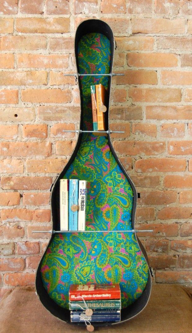 20 Creative Handmade Bookcase Ideas love the guitar case bookshelf for my living room!!!!