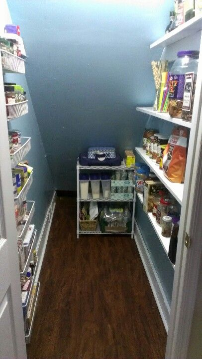 Not for pantry, but extra storage in the closet under the stairs -- wire  baskets on left side in