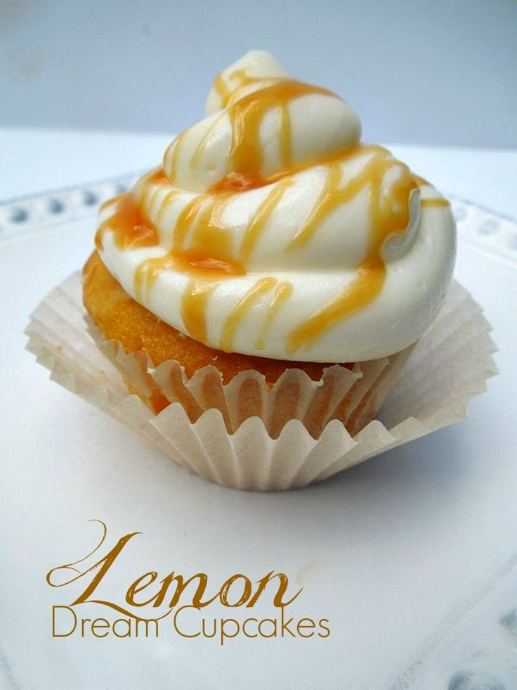 Lemon Cupcakes with a Caramel Drizzle
